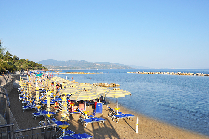 The private beach of Hotel Margherita